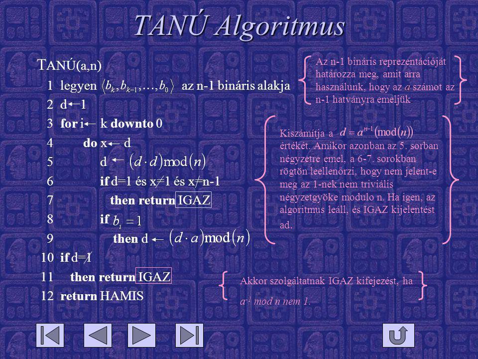 TANÚ Algoritmus TANÚ(a,n) 1 legyen az n-1 bináris alakja 2 d 1