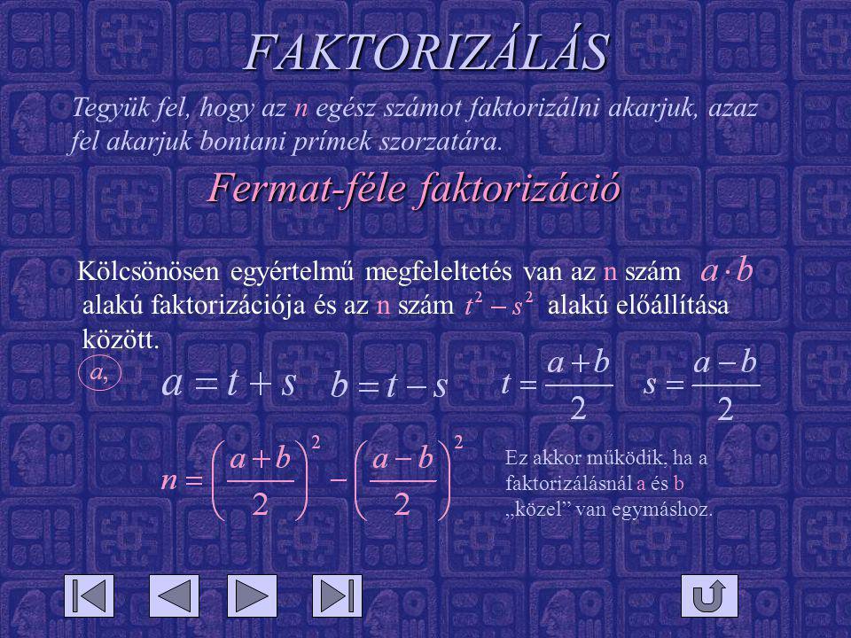 FAKTORIZÁLÁS Fermat-féle faktorizáció