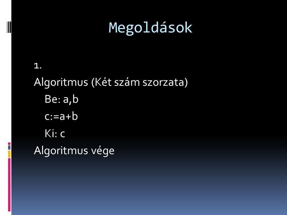 Megoldások 1. Algoritmus (Két szám szorzata) Be: a,b c:=a+b Ki: c Algoritmus vége