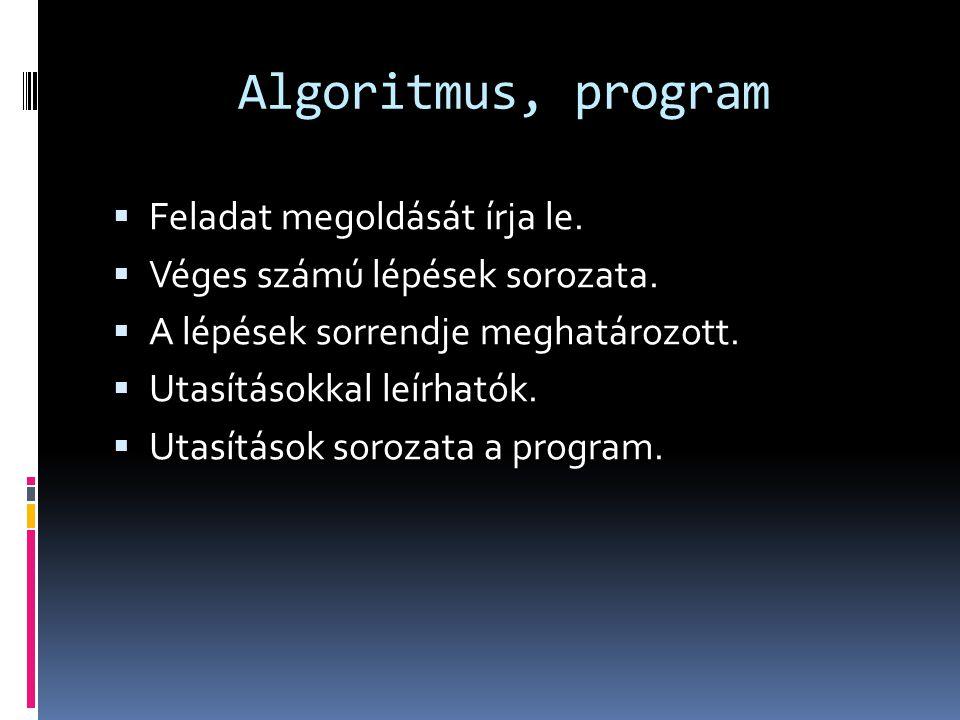 Algoritmus, program Feladat megoldását írja le.