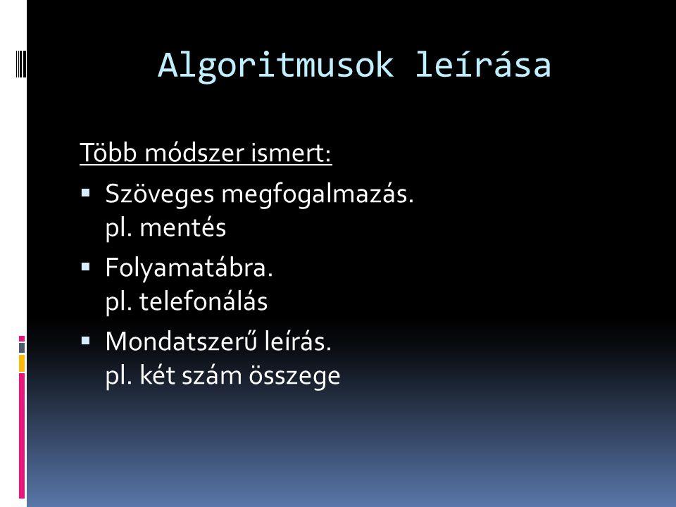 Algoritmusok leírása Több módszer ismert: