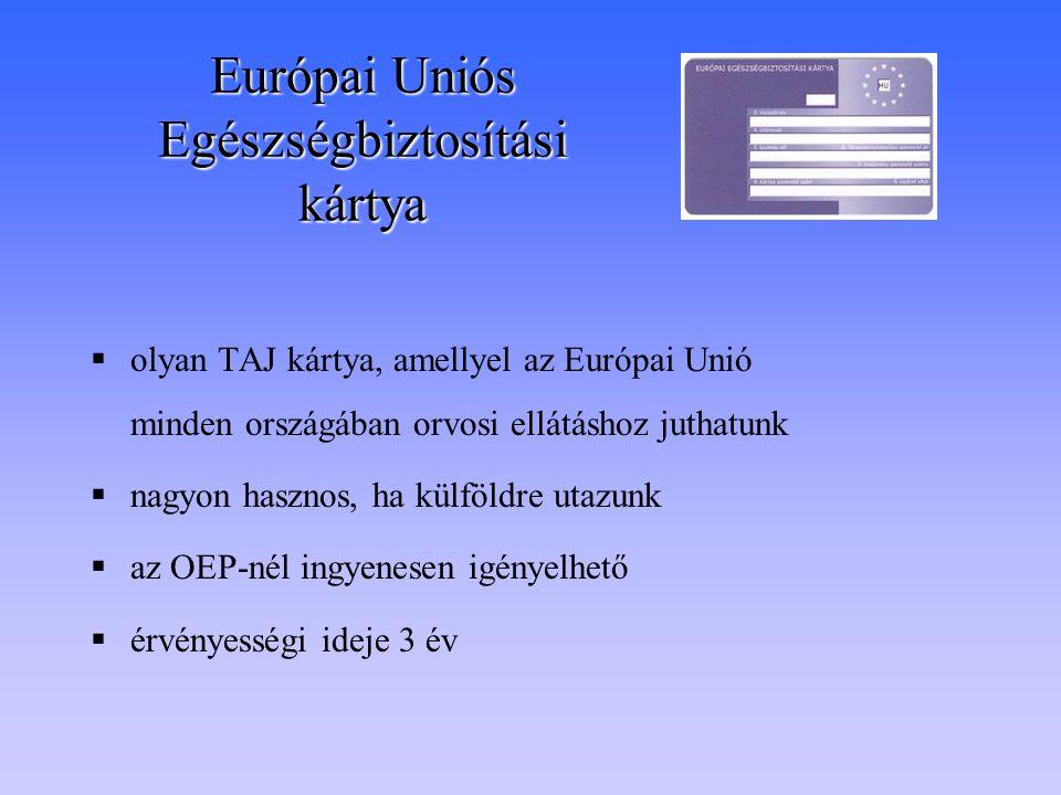 Európai Uniós Egészségbiztosítási kártya