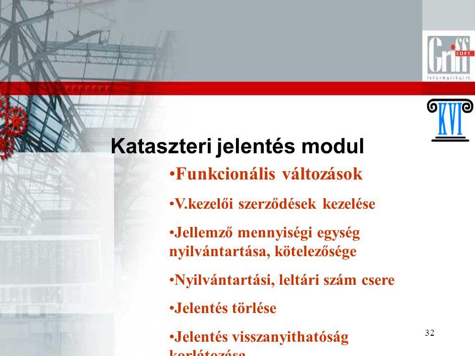 Kataszteri jelentés modul