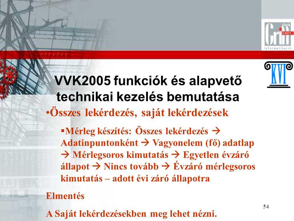 VVK2005 funkciók és alapvető technikai kezelés bemutatása