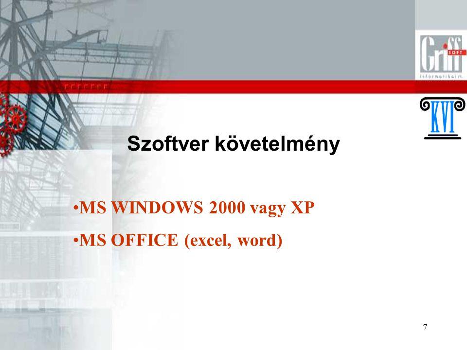 Szoftver követelmény MS WINDOWS 2000 vagy XP MS OFFICE (excel, word)