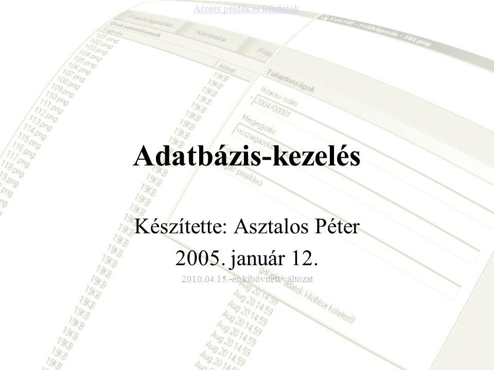 Adatbázis-kezelés Készítette: Asztalos Péter 2005. január 12.