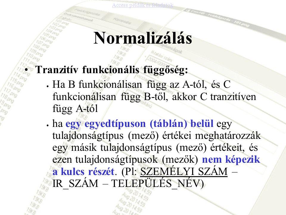 Normalizálás Tranzitív funkcionális függőség: