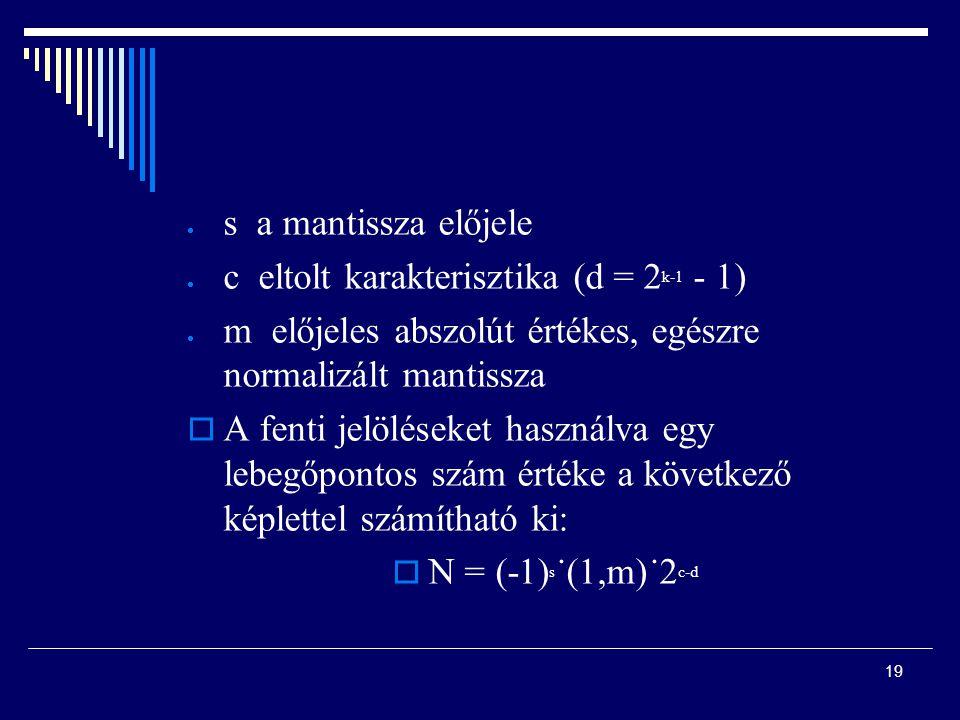 s a mantissza előjele c eltolt karakterisztika (d = 2k-1 - 1) m előjeles abszolút értékes, egészre normalizált mantissza.