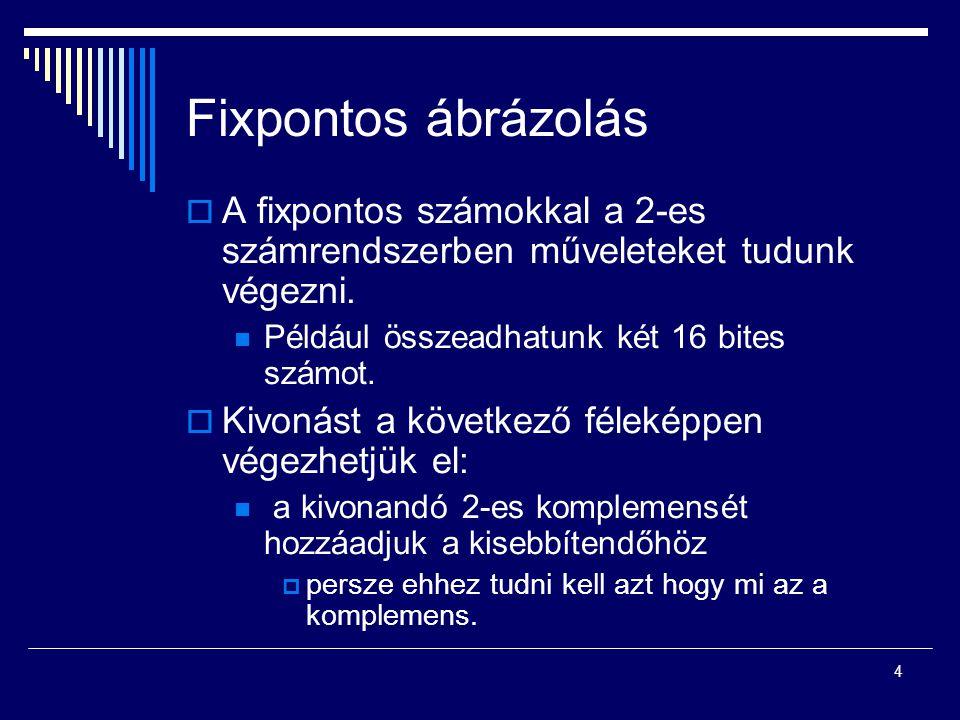 Fixpontos ábrázolás A fixpontos számokkal a 2-es számrendszerben műveleteket tudunk végezni. Például összeadhatunk két 16 bites számot.