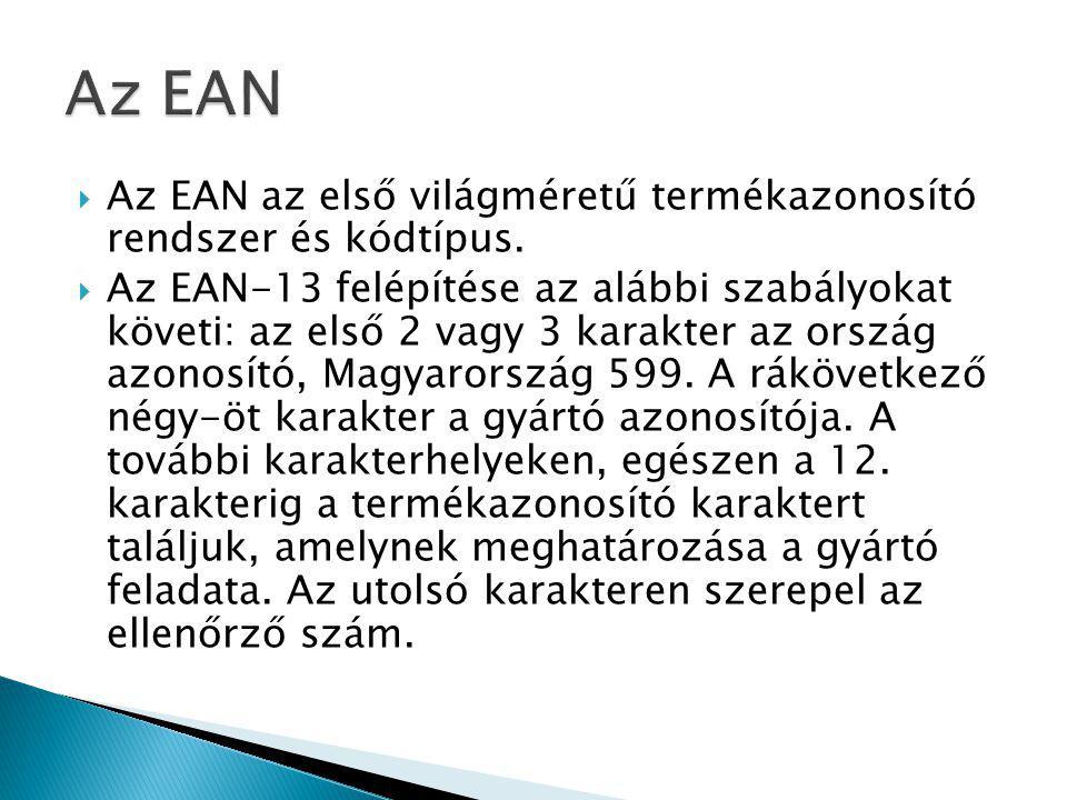 Az EAN Az EAN az első világméretű termékazonosító rendszer és kódtípus.