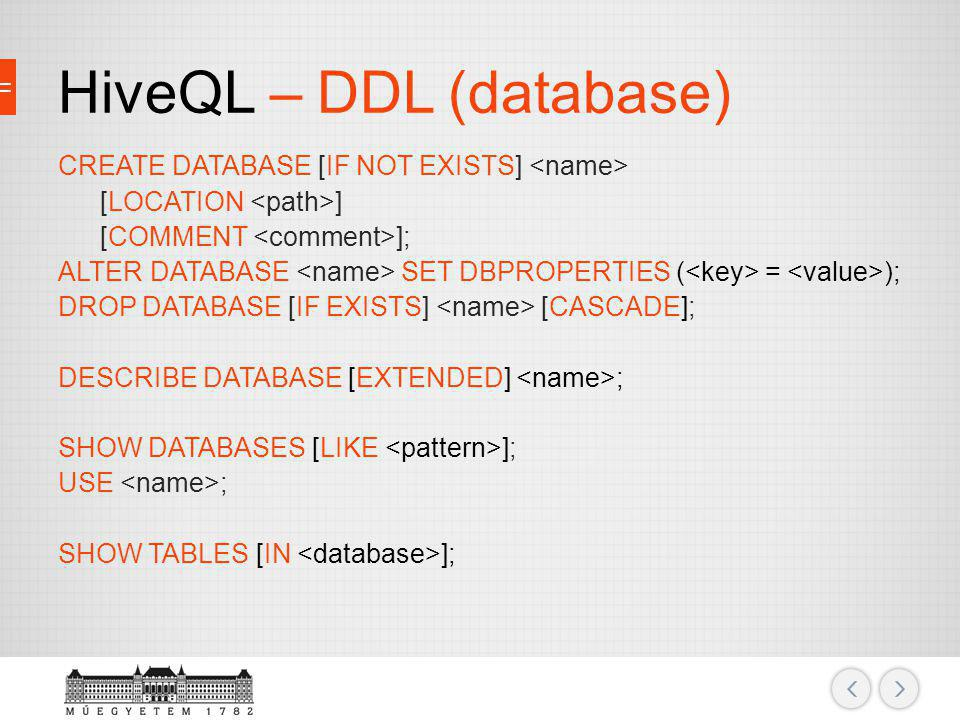 HiveQL – DDL (database)