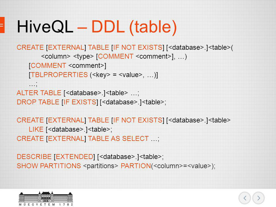 HiveQL – DDL (table)