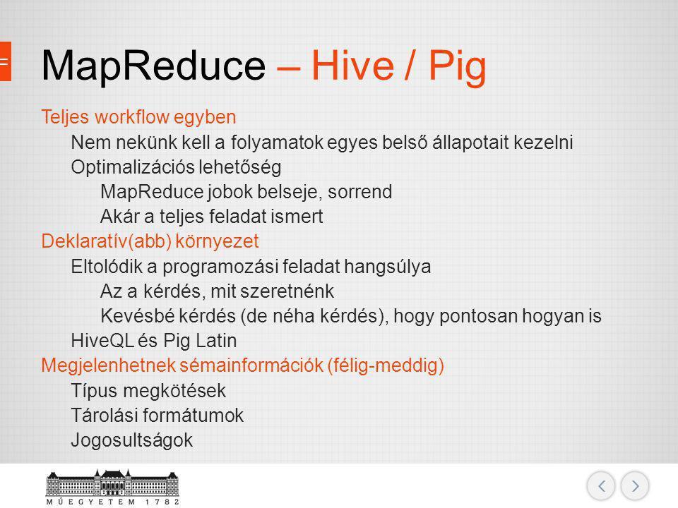 MapReduce – Hive / Pig