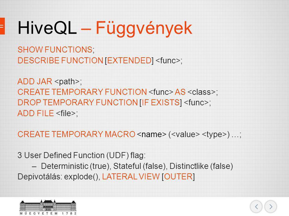 HiveQL – Függvények SHOW FUNCTIONS;