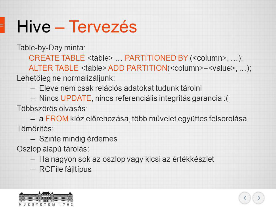 Hive – Tervezés Table-by-Day minta: