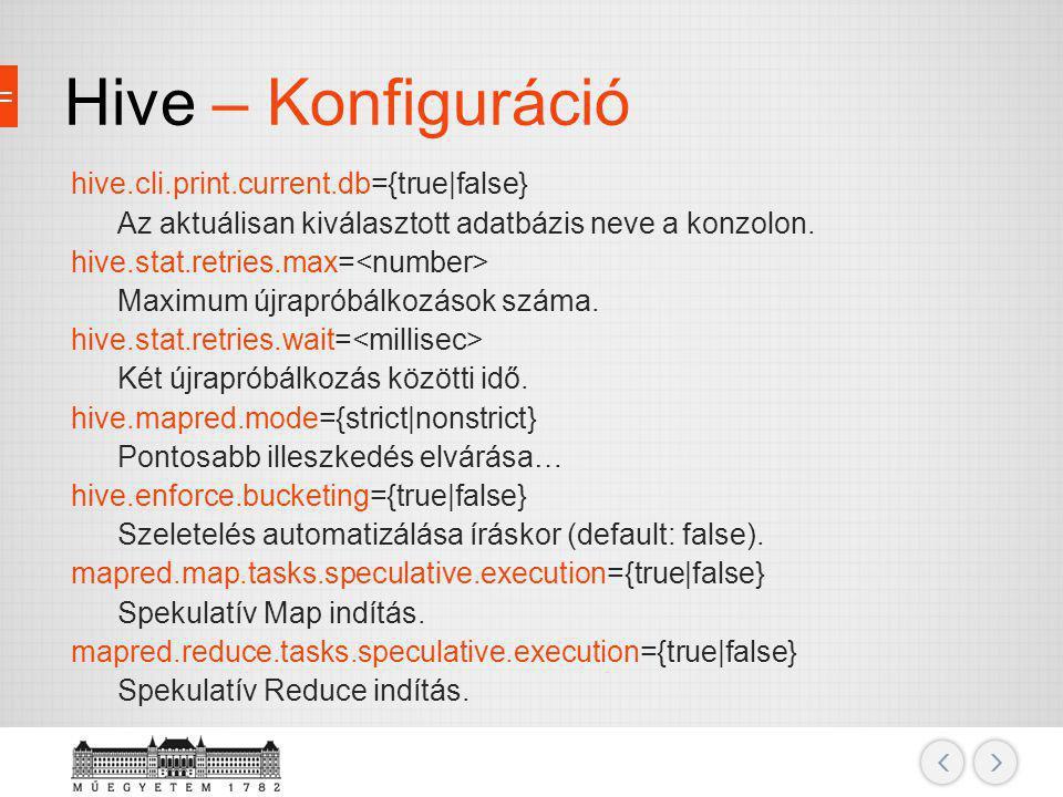 Hive – Konfiguráció