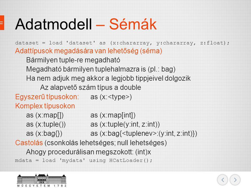 Adatmodell – Sémák Adattípusok megadására van lehetőség (séma)