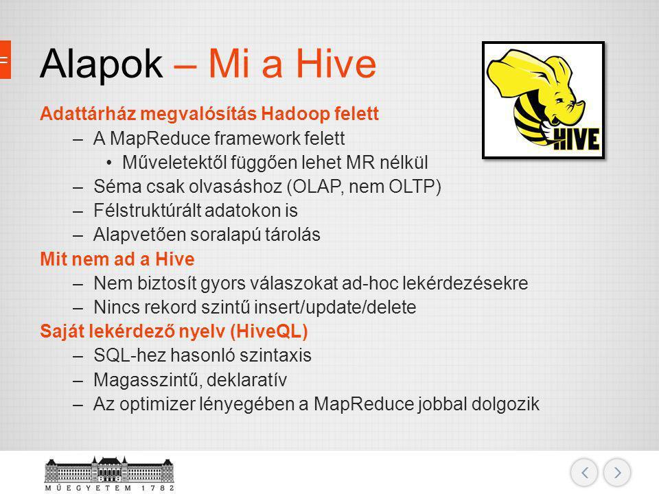 Alapok – Mi a Hive Adattárház megvalósítás Hadoop felett