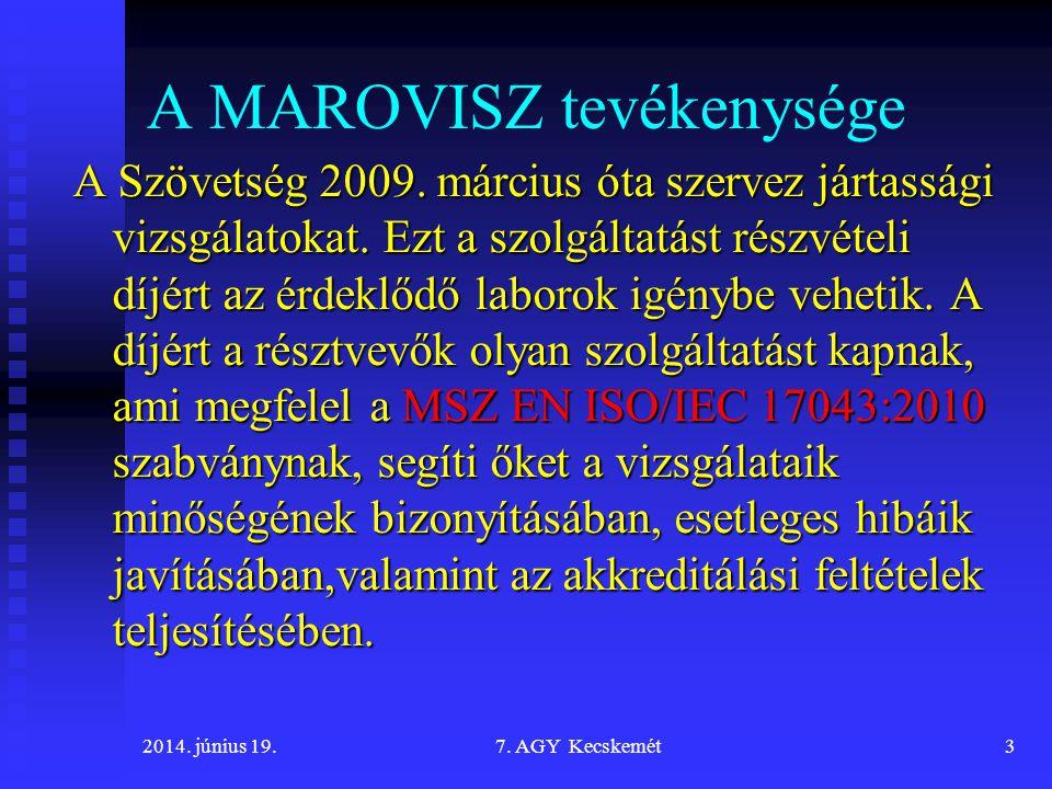 A MAROVISZ tevékenysége