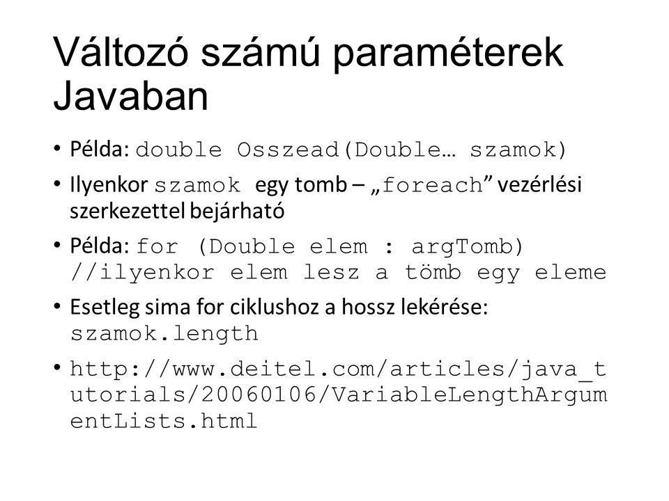 Változó számú paraméterek Javaban