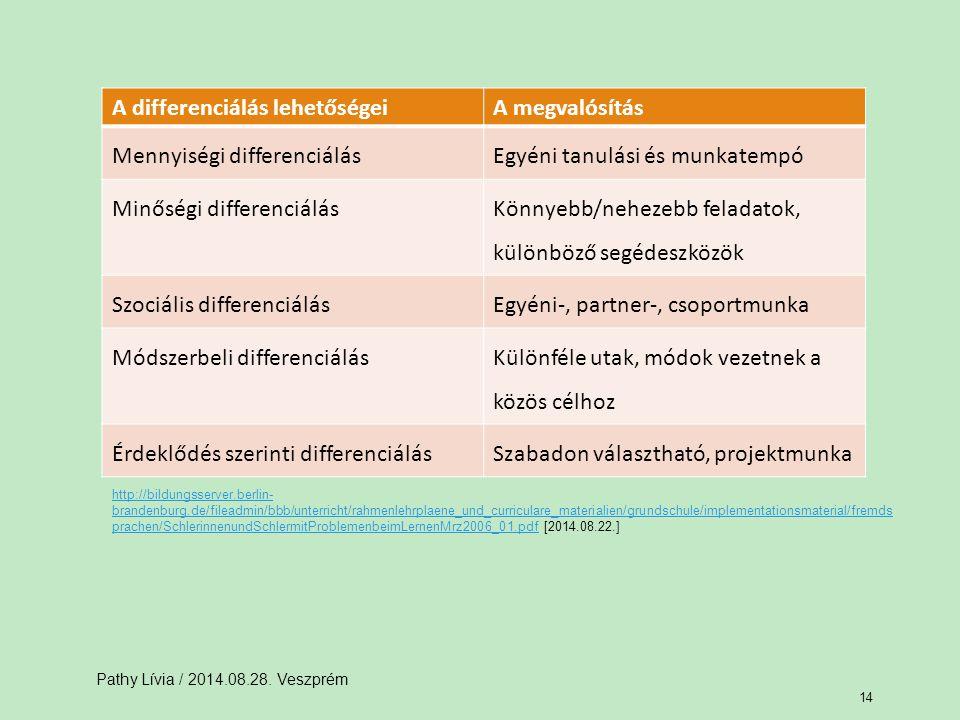 A differenciálás lehetőségei A megvalósítás Mennyiségi differenciálás