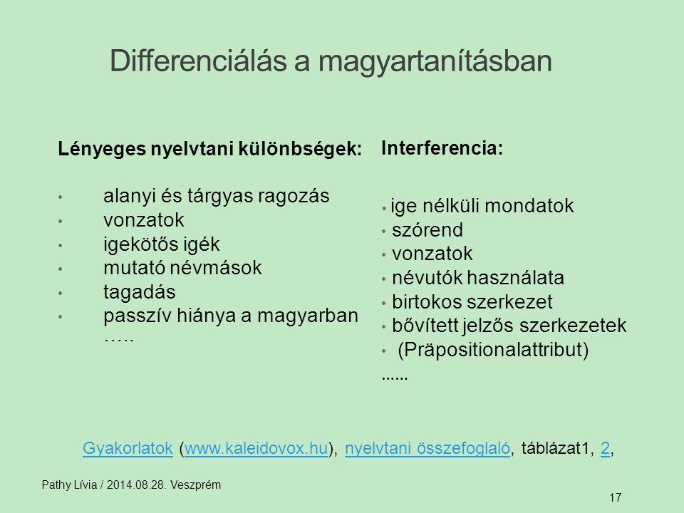 Differenciálás a magyartanításban