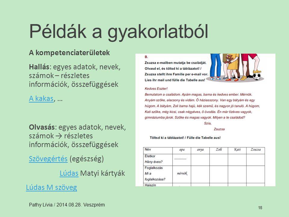 Példák a gyakorlatból A kompetenciaterületek