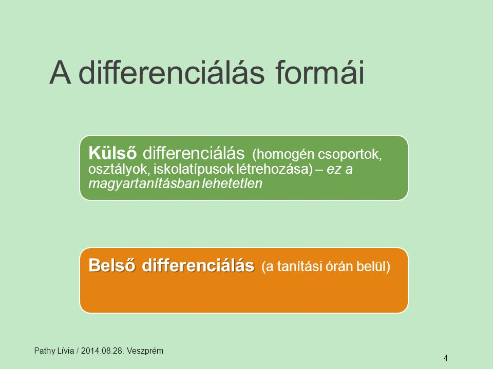 A differenciálás formái