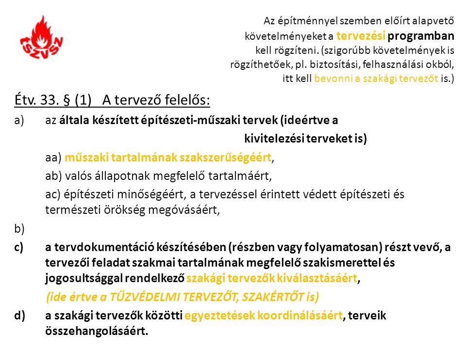 Étv. 33. § (1) A tervező felelős: