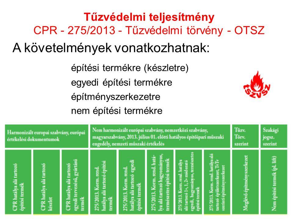 Tűzvédelmi teljesítmény CPR - 275/2013 - Tűzvédelmi törvény - OTSZ