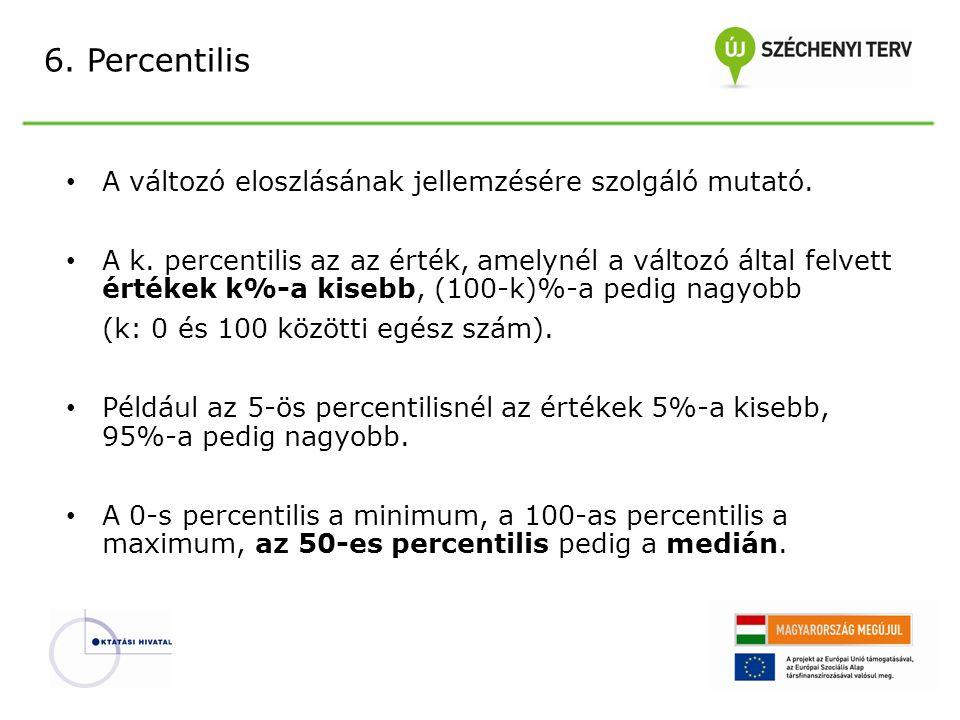 6. Percentilis A változó eloszlásának jellemzésére szolgáló mutató.