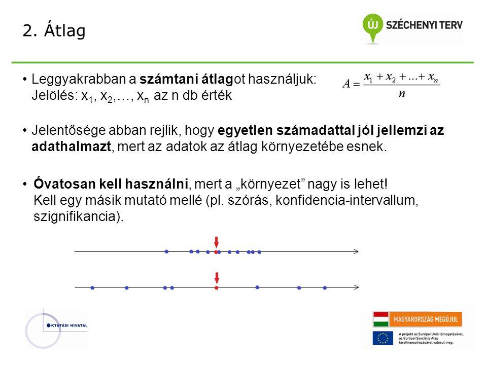 2. Átlag Leggyakrabban a számtani átlagot használjuk: Jelölés: x1, x2,…, xn az n db érték.