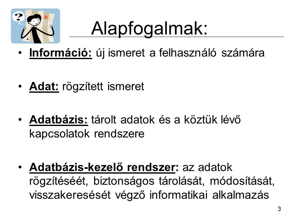 Alapfogalmak: Információ: új ismeret a felhasználó számára