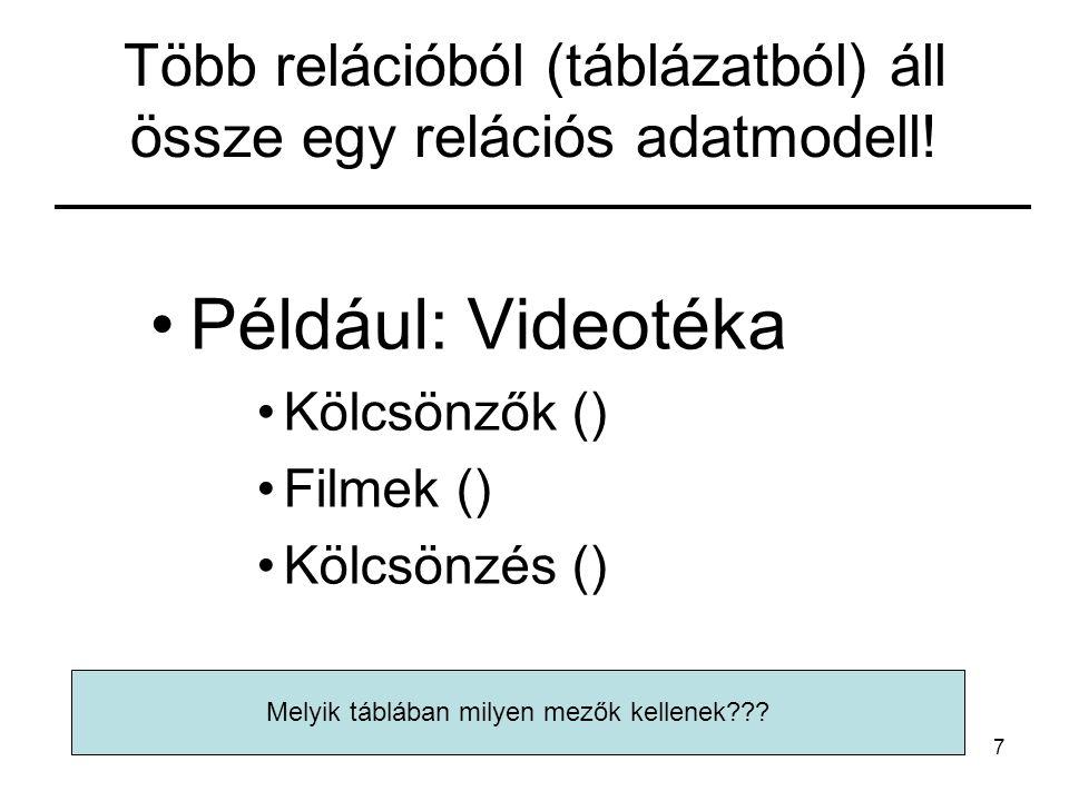 Több relációból (táblázatból) áll össze egy relációs adatmodell!