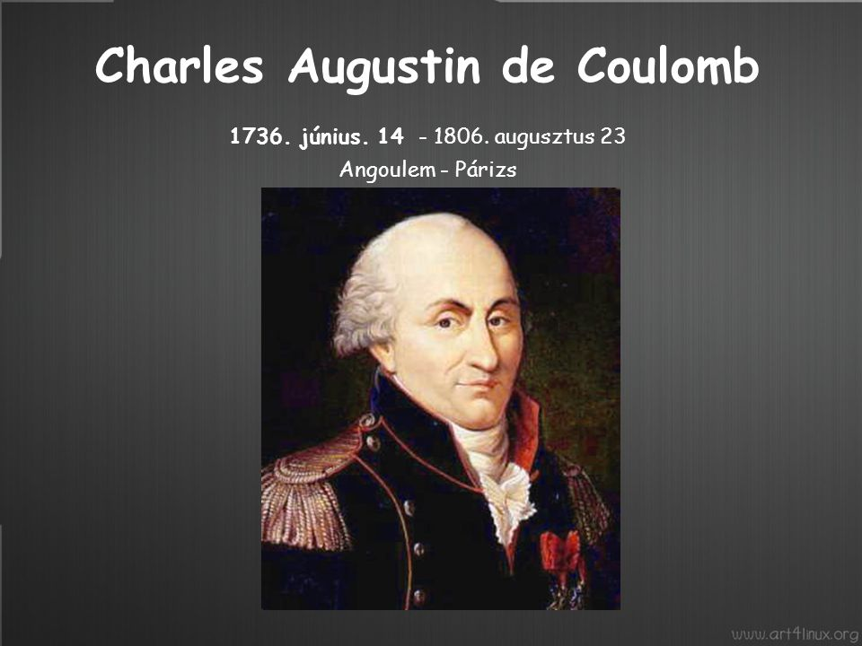 Charles Augustin de Coulomb 1736. június. 14 - 1806