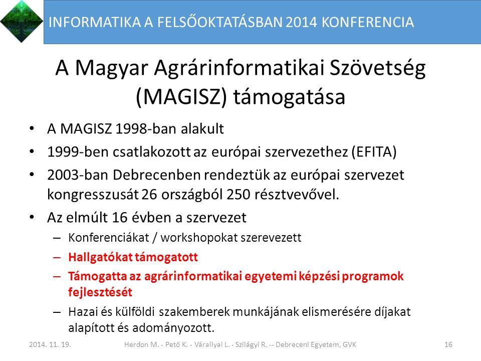 A Magyar Agrárinformatikai Szövetség (MAGISZ) támogatása