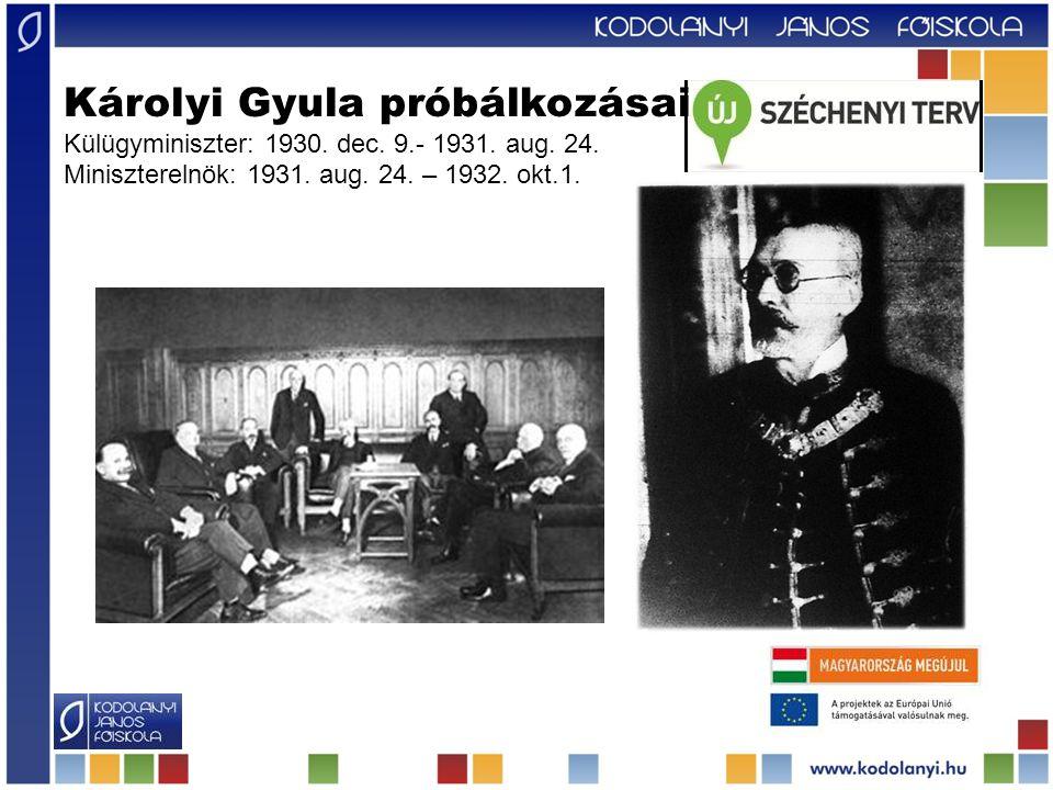 Károlyi Gyula próbálkozásai Külügyminiszter: 1930. dec. 9. - 1931. aug
