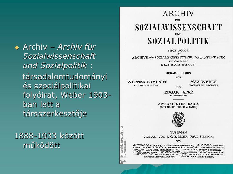 Archiv – Archiv für Sozialwissenschaft und Sozialpolitik :