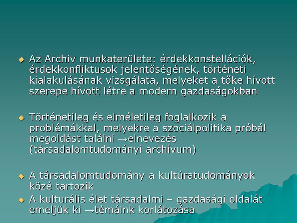 Az Archiv munkaterülete: érdekkonstellációk, érdekkonfliktusok jelentőségének, történeti kialakulásának vizsgálata, melyeket a tőke hívott szerepe hívott létre a modern gazdaságokban