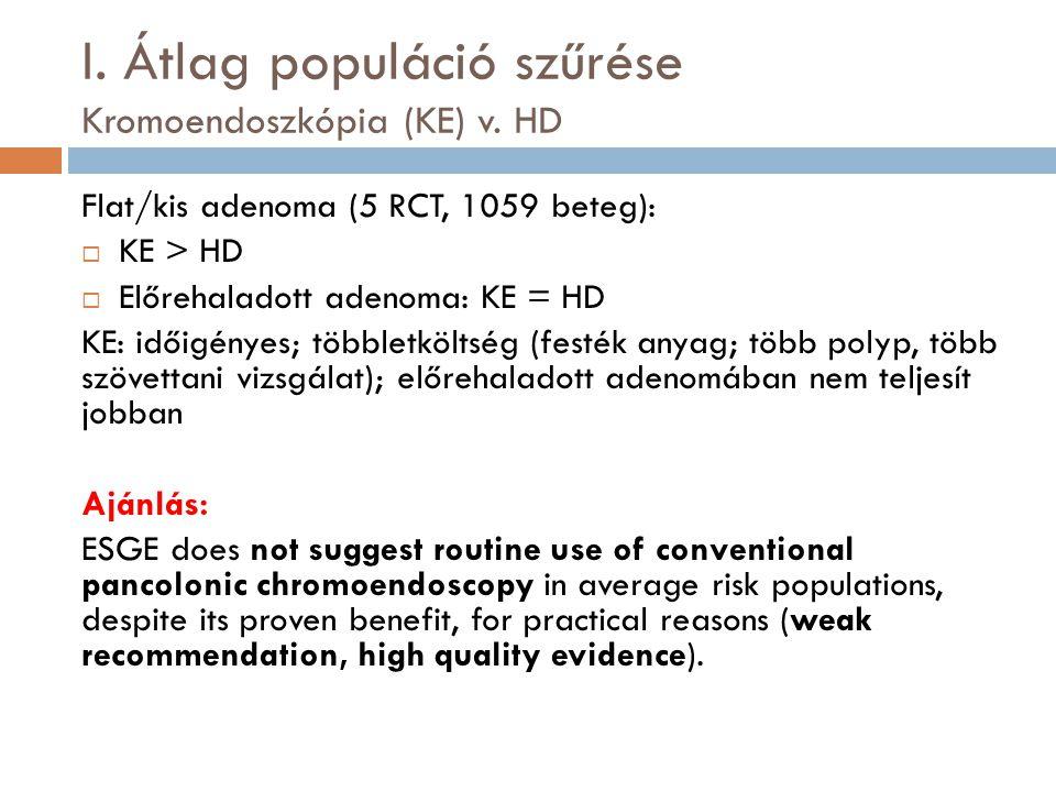 I. Átlag populáció szűrése Kromoendoszkópia (KE) v. HD