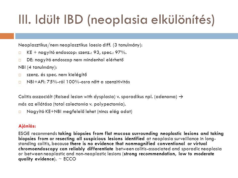 III. Idült IBD (neoplasia elkülönítés)
