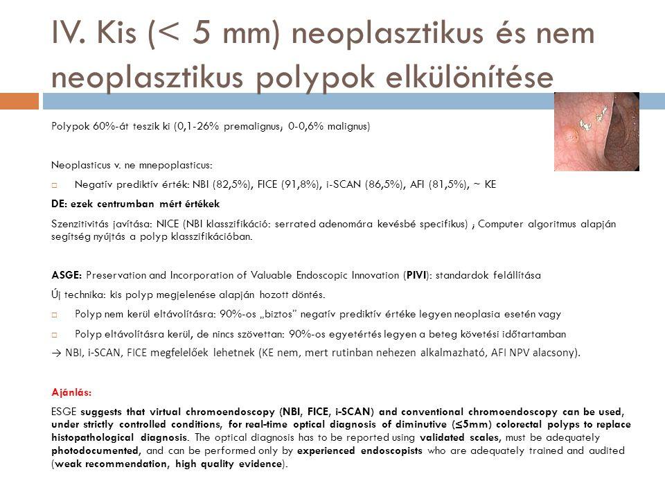 IV. Kis (< 5 mm) neoplasztikus és nem neoplasztikus polypok elkülönítése