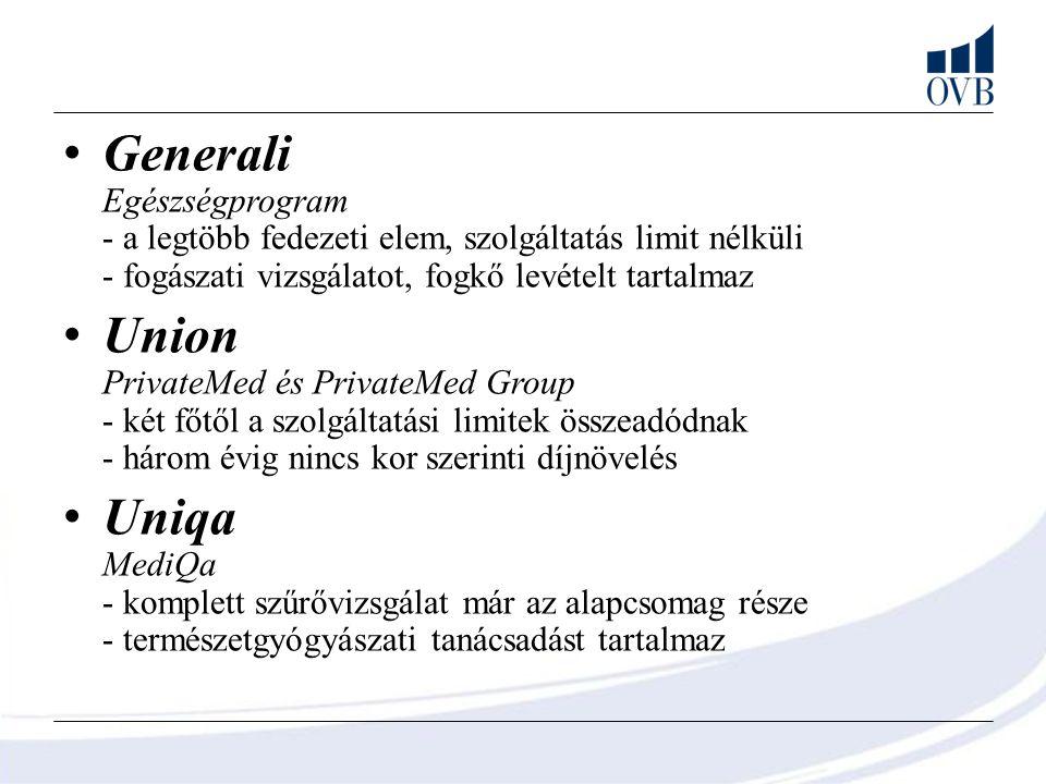 Generali Egészségprogram - a legtöbb fedezeti elem, szolgáltatás limit nélküli - fogászati vizsgálatot, fogkő levételt tartalmaz