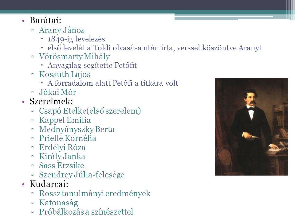 Barátai: Szerelmek: Kudarcai: Arany János Vörösmarty Mihály