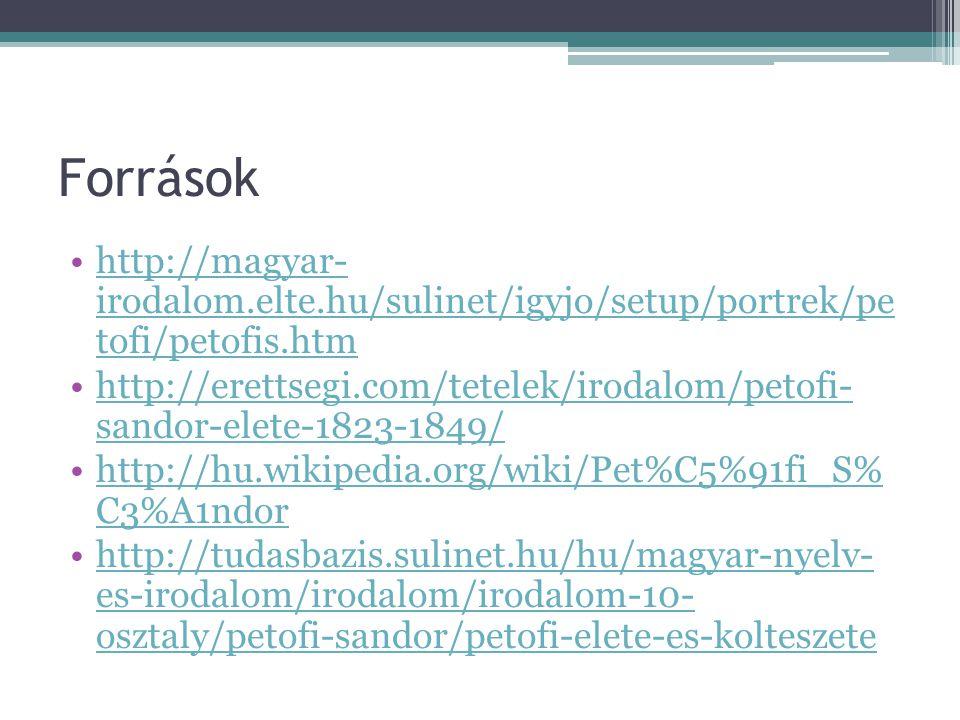 Források http://magyar- irodalom.elte.hu/sulinet/igyjo/setup/portrek/pe tofi/petofis.htm.