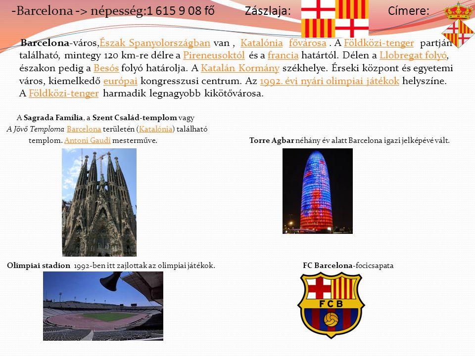 -Barcelona -> népesség:1 615 9 08 fő Zászlaja: Címere: