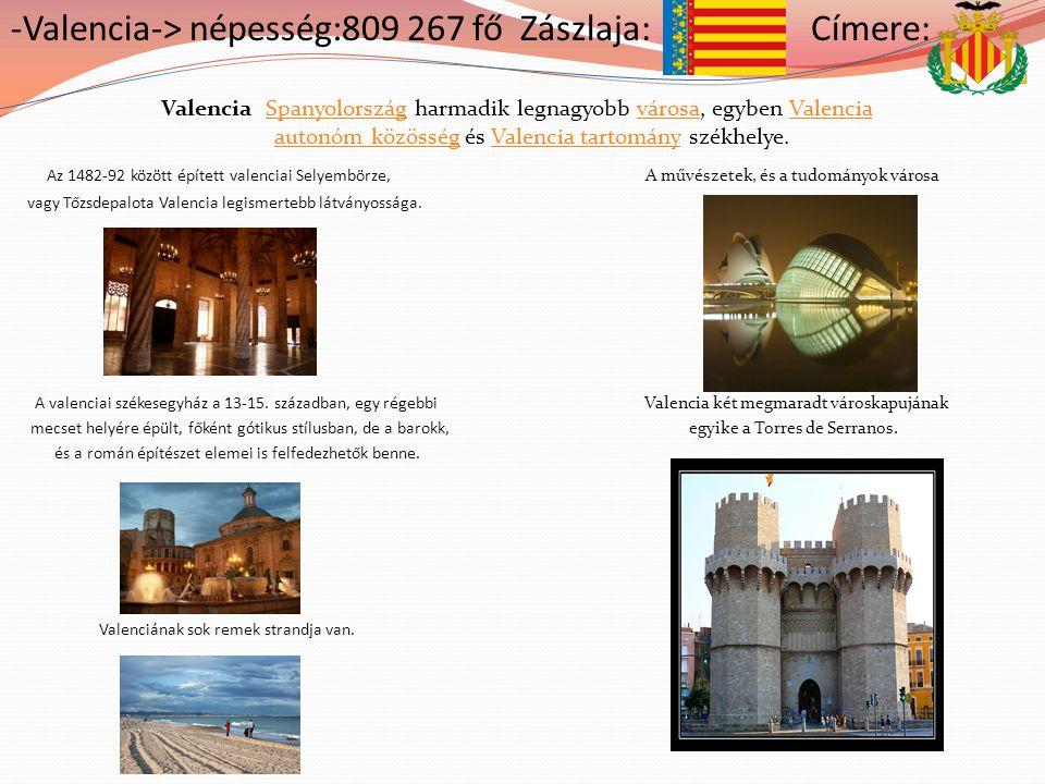 -Valencia-> népesség:809 267 fő Zászlaja: Címere: