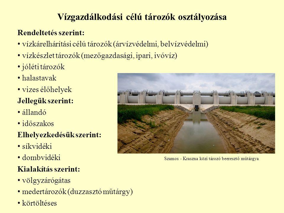 Vízgazdálkodási célú tározók osztályozása