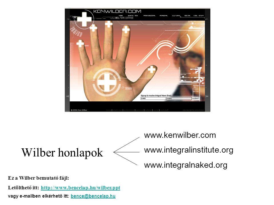 Wilber honlapok www.kenwilber.com www.integralinstitute.org