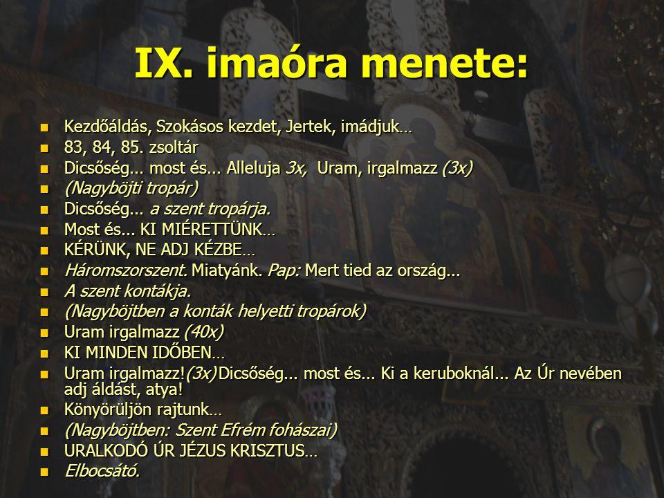 IX. imaóra menete: Kezdőáldás, Szokásos kezdet, Jertek, imádjuk…